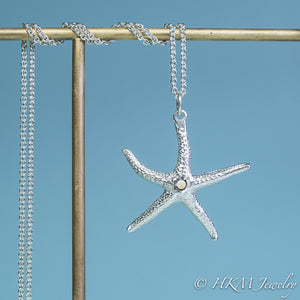 silver starfish necklace with opal gemstone October birthstone by HKM Jewelry