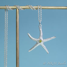 Load image into Gallery viewer, silver starfish necklace with peridot gemstone August birthstone by HKM Jewelry