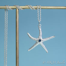 Load image into Gallery viewer, silver starfish necklace with sapphire gemstone September birthstone by HKM Jewelry