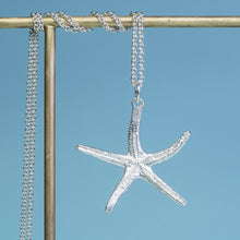 Load image into Gallery viewer, backside of recycled silver starfish necklace by hkm jewelry