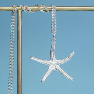 backside of recycled silver starfish necklace by hkm jewelry