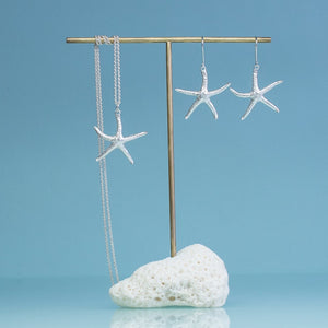 silver starfish dangle earrings and matching necklace by hkm jewelry