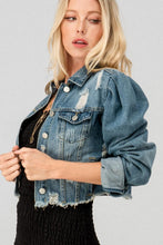 Load image into Gallery viewer, VINTAGE WASHED CROPPED DENIM JACKET