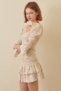 IVORY FLORAL SMOCKED MINI SKIRT
