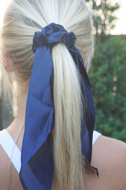 SATIN TIE HAIR SCRUNCHIE - NAVY
