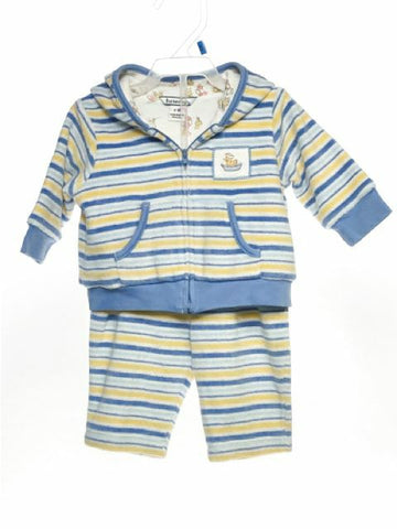 Hartstrings SIZE 3-6 Months Blue Stripe Reversible Terrycloth Pant Set