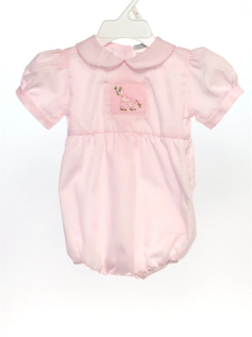Carriage Boutique SIZE 6 Months Pink Short Sleeve Smocked Romper / Jumpsuit