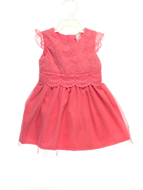 Carters SIZE 9 Months Pink Cap Sleeve Embroidered Solid Dress