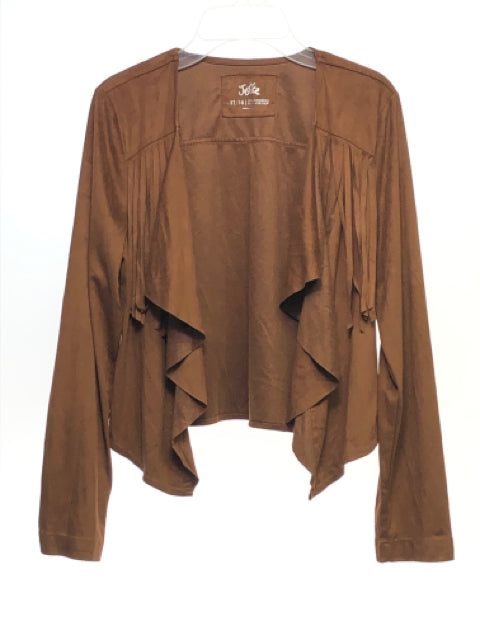 Girl's Justice SIZE 12/14 Brown Fringe Long Sleeve Faux Suede Blazer/ Kimono