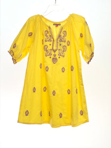Pink Chicken SIZE 4 Yellow Short Sleeve Embroidered Dress