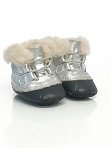 Silver Sorel SIZE 3 Infant Snow Boot Sherpa Lined Leather Boots