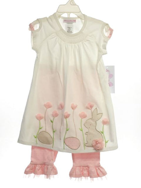 Girl's Bonnie Jean SIZE 4T Cream NEW with TAGS 2 Piece Short Sleeve Pant Set