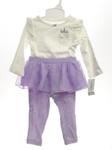 Girl's Carters SIZE 9 Months White NEW with TAGS 2 Piece Long Sleeve Pant Set