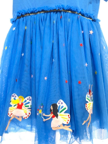 Hanna Andersson SIZE 4 Blue Short Sleeve Applique Solid Dress