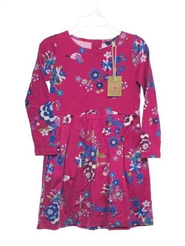 Girl's Joules SIZE 7/8 Pink NEW Long Sleeve Floral Dress