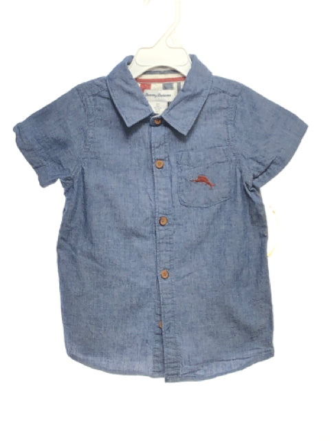 Tommy Bahama SIZE 5 Blue Short Sleeve Solid 100% Cotton Button Down Shirt