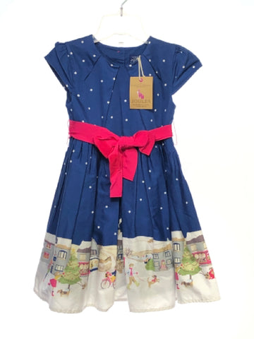 Joules SIZE 4 Blue NEW Short Sleeve Lined Stars Dress