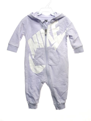 Girl's Nike SIZE 6 Months Lavender Long Sleeve Hooded Romper / Jumpsuit