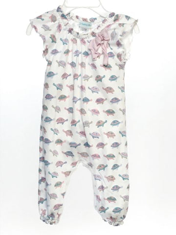Feather Bab SIZE 3-6 Months White Cap Sleeve Turtles Romper / Jumpsuit