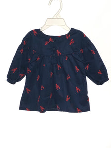 Old Navy SIZE 18-24 Months Navy Button Front Lobsters 3/4 Sleeve Blouse / Tunic