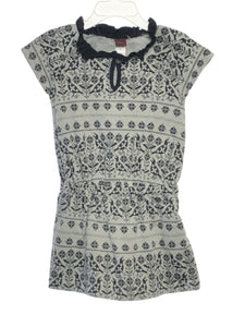 Tea Collection SIZE 2 Gray Short Sleeve Jersey Print Dress