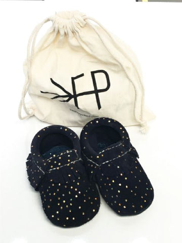 Navy Freshly Picked SIZE 2 Infant Moccasin Dots Fringe Suede Shoes