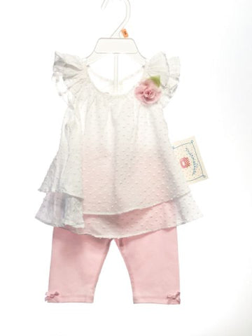 Marmelatta SIZE 12 Months White NEW 2 Piece Cap Sleeve Ruffle Solid Pant Set