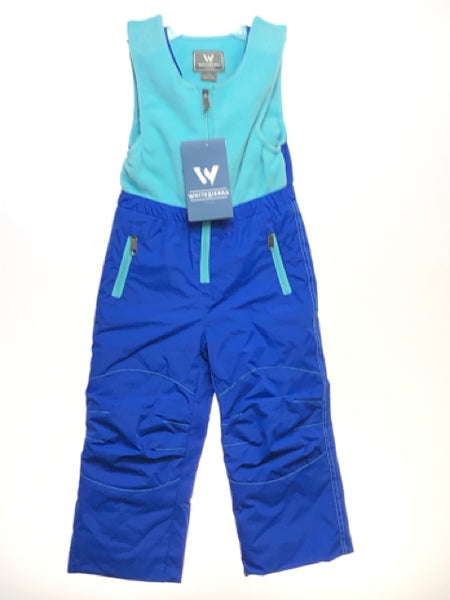 Girl's White Sierra SIZE 3T Blue NEW with TAGS Velcro Closure Snow Pants