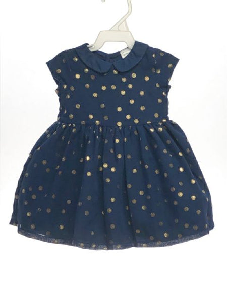 Girl's Carters SIZE 6 Months Navy Short Sleeve Tulle Underskirt Dots Dress