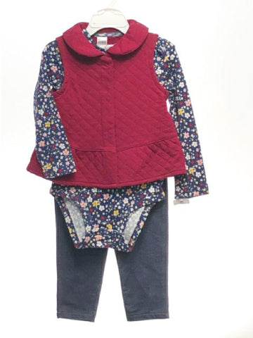 Girl's Carters SIZE 24 Months Burgundy NEW 3 Piece Long Sleeve Floral Pant Set