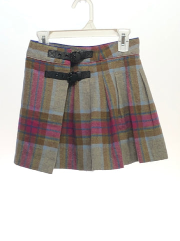 Girl's Johnnie B SIZE 9/10 Gray Buckle Plaid Wool Blend Skirts / Skorts