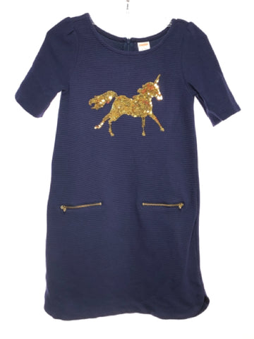 Girl's Gymboree SIZE 7 Navy Short Sleeve Sequins Dress