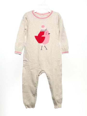 Girl's Gap SIZE 18-24 Months Cream Long Sleeve Button Crotch Romper / Jumpsuit
