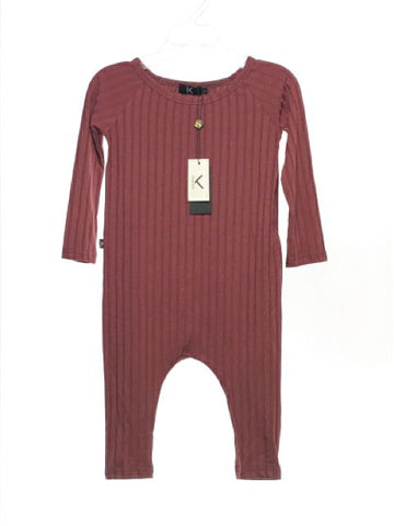 Girl's KultKid SIZE 2 Burgundy NEW Long Sleeve Ribbed Solid Romper / Jumpsuit