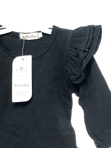 Girl's Yi Pei Ban SIZE 6 Months Black NEW with TAGS Long Sleeve Bodysuit T-Shirt