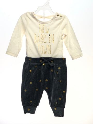 Girl's Jessica Simpson SIZE 3-6 Months Cream NEW with TAGS 2 Piece Dots Pant Set