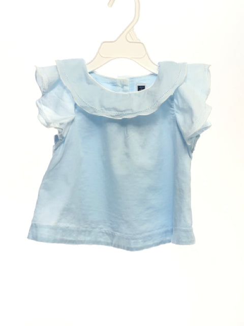 Janie & Jack SIZE 12-18 Months Light Blue Cap Sleeve Solid Blouse / Tunic