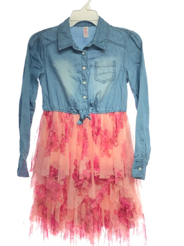 Girl's Justice SIZE 14 Blue Long Sleeve Tulle Floral Chambray Dress