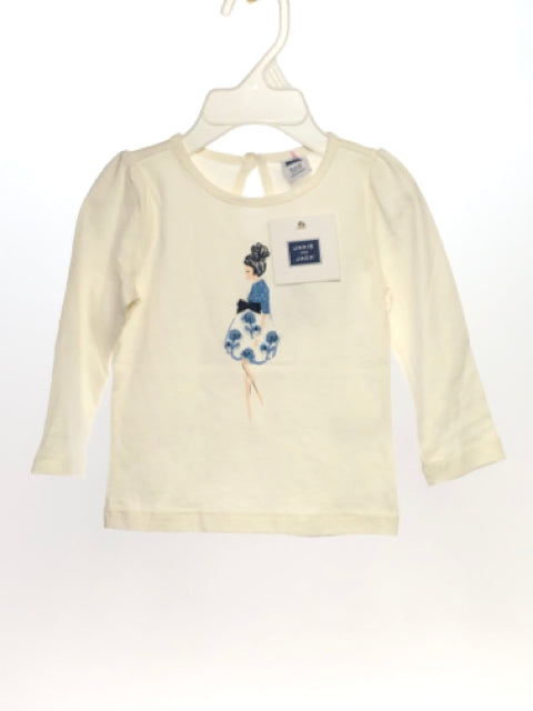 Janie & Jack SIZE 6-12 Months Off White NEW Long Sleeve Embroidered T-Shirt