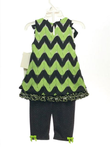 Girl's Bonnie Jean SIZE 18 Months Green NEW 2 Piece Sleeveless Pants Bows Dress