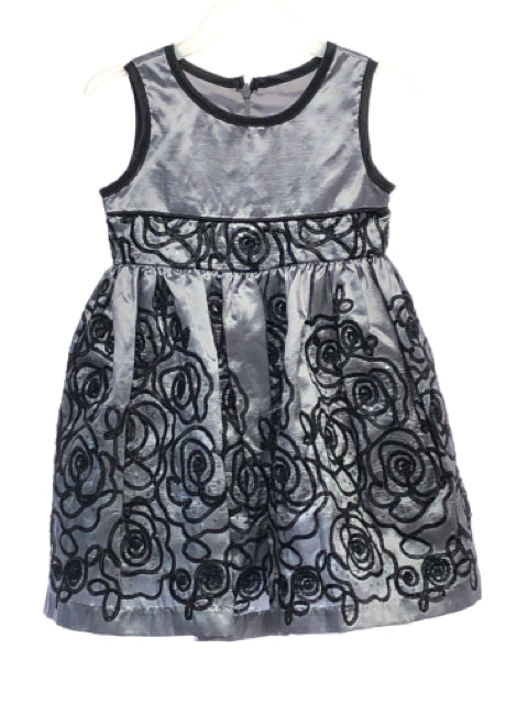 Girl's Jane Copeland SIZE 2T Gray Sleeveless Embroidered Dress