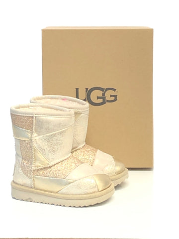 Ugg SIZE 8 Toddler Gold Classic Patchwork Sherpa Lined Leather Boots