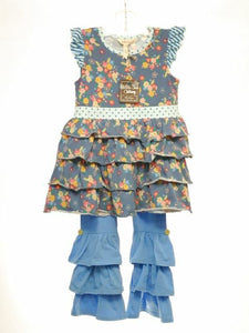 Matilda Jane SIZE 8 Blue NEW Floral Pant Set