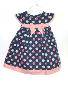 Gymboree SIZE 6-12 Months Navy NEW Cap Sleeve Bow Dots Dress