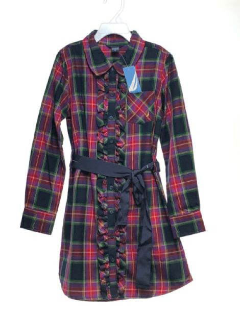 Girl's Nautica SIZE 8 Multi Long Sleeve Button Down Plaid NEW with TAGS Dress