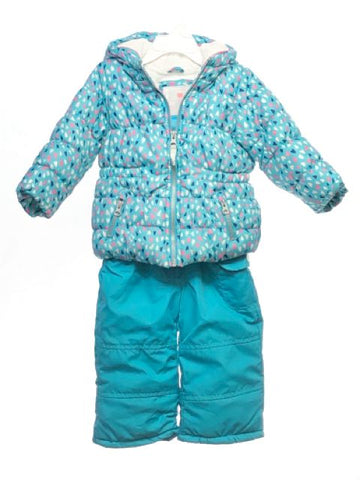 Girl's Carters SIZE 18 Months Blue 2 Piece Hooded Hearts Coat