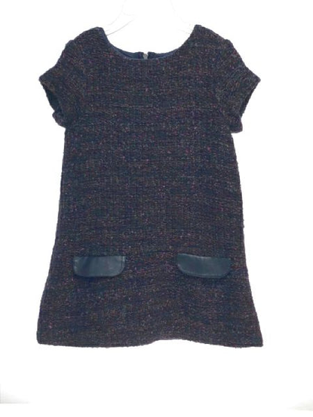 Girl's Lili Gaufrette SIZE 4 Navy Short Sleeve Tweed Lined Dress