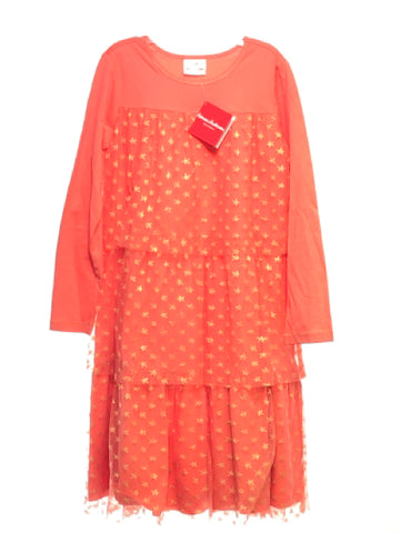 Girl's Hanna Andersson SIZE 10 Coral NEW Long Sleeve Ruffle Stars Dress
