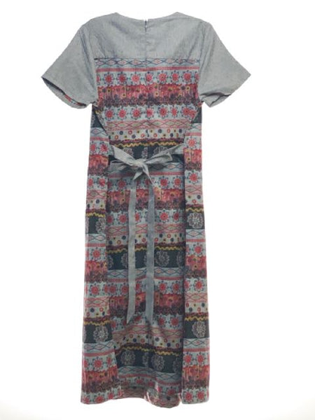 Girl's Tikie Event SIZE 10 Gray NEW with TAGS Short Sleeve Fringe Print Dress