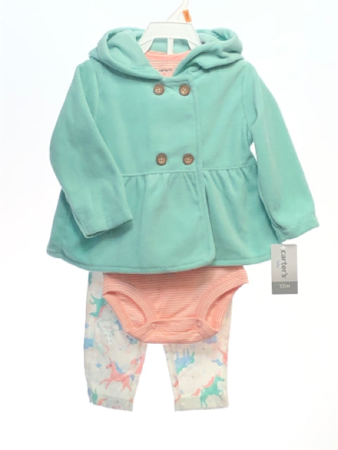 Carters SIZE 12 Months Green NEW 3 Piece Pant Set